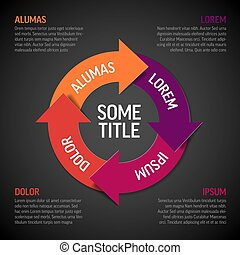 schéma, vecteur, /, cycle, rouges, cercle, diagramme, vie, infographic