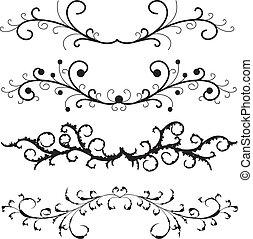 schémas floraux, vecteur, ensemble