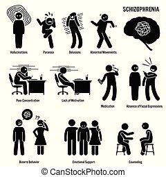 schizophrénie, cerveau, chronique, désordre, icons.