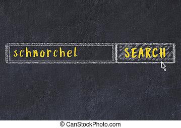 schnorchel, formulaire, recherche, fenêtre, inscription, craie, croquis, navigateur