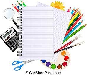 school., dos, école, bloc-notes