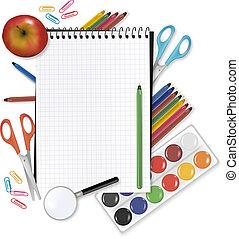 school., dos, fournitures, note