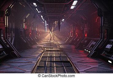 sci-fi, couloir, endommagé