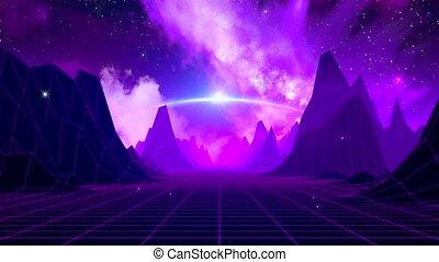 sci-fi, retro, espace, horizon
