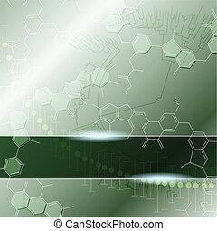 science, arrière-plan vert