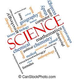 science, concept, mot, nuage, incliné