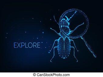science, concept, projet, exploration, magnifier, sous, bogue, verre, curiosité, futuriste, insecte