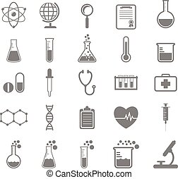 science, ensemble, icônes, chimie