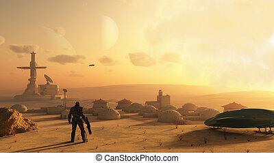 science-fiction, désert, village
