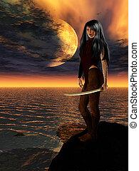 science-fiction, femme, guerrier