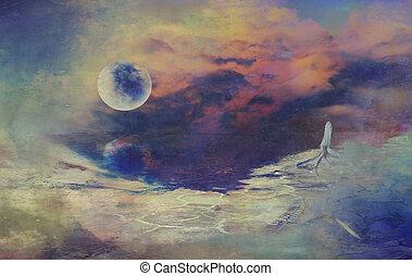 science-fiction, numérique, lune, dessin, paysage