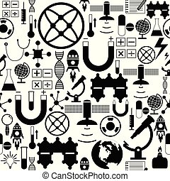 science, icon., seamless, modèle fond