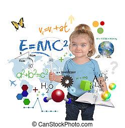 science, jeune, écriture, génie, girl, math