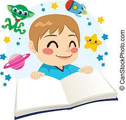 science, lecture garçon, livre, fiction