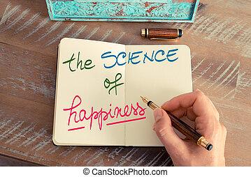 science, manuscrit, bonheur, texte