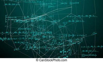 science, mathématique, recherche, concepts., mouvement, formules, développement, espace, boucle, vidéo