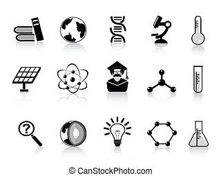 science, noir, icônes