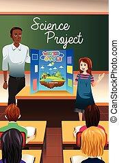 science, présentation, avoir, étudiant