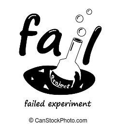 science, project., cassé, flacon