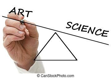 science, projection, déséquilibre, art, bascule