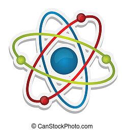 science, résumé, icône, atome