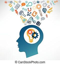science, tête, icons., découvrir, humain, scientifique, concept