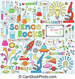 science, vecteur, illustration, doodles