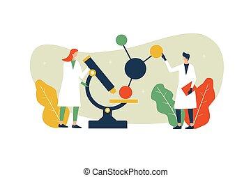 science, vecteur, laboratoire de recherche, microscope, illustration