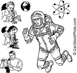 science, vendange, vecteur, graphiques