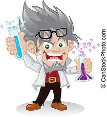 scientifique, caractère, fou, dessin animé