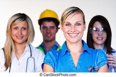 scientifique, docteur, multi-profession, -, ingénieur, femme affaires, sourire, appareil photo