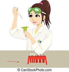 scientifique, expérience, femme