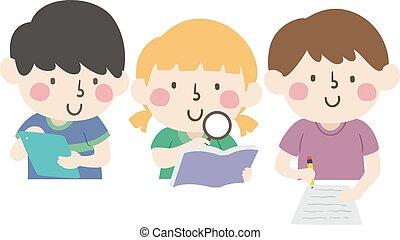 scientifique, illustration, méthode, gosses, recherche