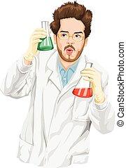 scientifique, liquid., expérimenter, vecteur