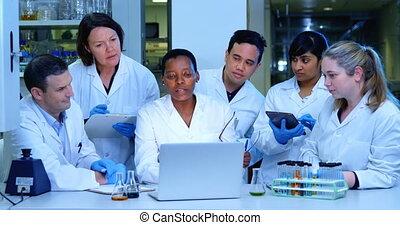 scientifique, ordinateur portable, équipe, sur, discuter, 4k