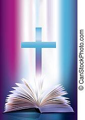 scintillation, bible ouverte, croix
