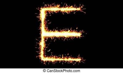scintillement, animation, texte, feud'artifice, boucle, étincelles, sparkler, alphabet, e