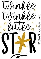 scintillement, decoration., étoile, -, peu, mignon
