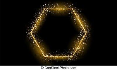 scintillement, doré, cadre, hexagone