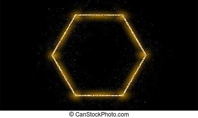 scintillement, hexagone, doré, cadre
