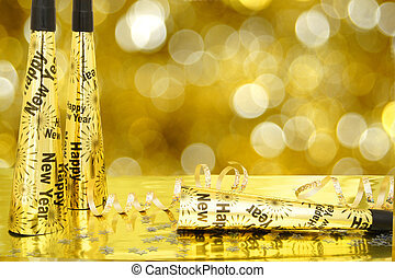 scintillement, nouveau, or, fond, années