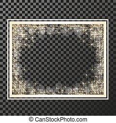 scintillement, -, vecteur, arrière-plan doré, symboles, flamme, étoiles, briller, cadre, étoile, stellaire, reflections., transparence, rectangle, scintillements