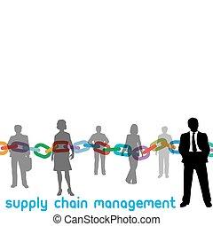 scm, gestion, chaîne, fourniture, gens, directeur, entreprise