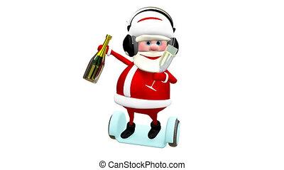 scooter, écouteurs, animation, santa, champagne, 3d
