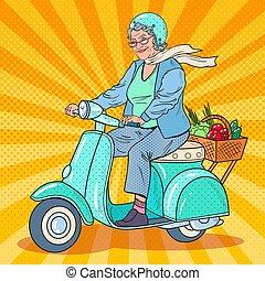 scooter., femme, art, biker., pop, vecteur, illustration, équitation, personne agee, dame