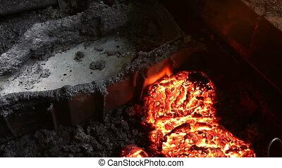 scories, chaud, refroidi, avant