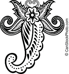 scorpion, ornement, floral
