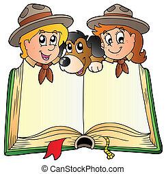 scouts, livre, chien, ouvert, deux