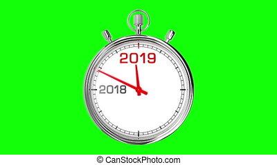 screen), 2019, année, chronomètre, nouveau, (green