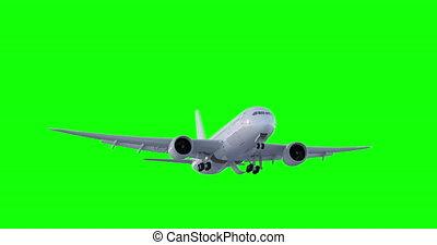 screen., voler, vert, 3d, avion, render